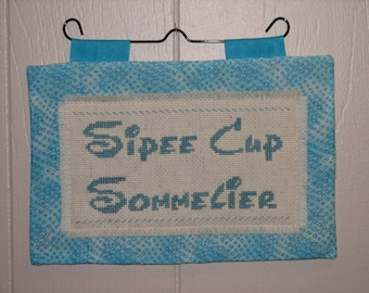 Sipee cup sommelier counted cross stitch mini quilt wall hanging FREE SHIPPING