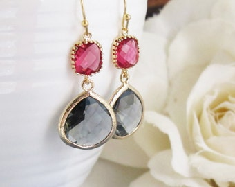 Red and Charcoal TearDrops Earrings. Framed Glass TearDrops Dangle Earrings. Modern Everyday Wear. Bridesmaids Gift, For her Jewelry