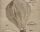 Sepia Hot Air Balloon Art Linocut and Watercolor Painting Original Art Unframed Art 5 by 7 Print Nursery Wall Art Texas Artist