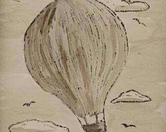 Sepia Hot Air Balloon Art Linocut and Watercolor Painting Original Art Unframed Art 5 by 7 Print Nursery Wall Art Texas Artist