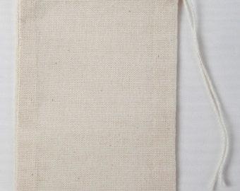 100 3x5 Cotton Muslin Drawstring Bags
