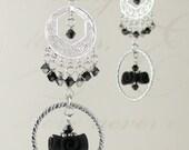 CUSTOM ORDER for missblueyes79 - Filigree Chandelier Earrings - Polymer Clay & Sterling Silver