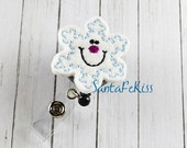 Snowflake Felt Badge Holder with Retractable Badge Reel. A great ID Badge Holder for yourself or for your favorite nurse, teacher, coworker