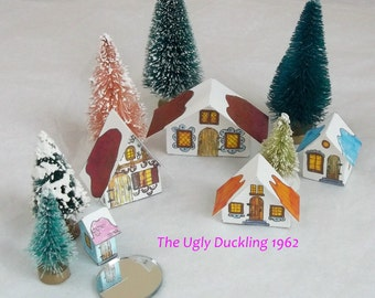 Make Your Own DIY Kit Vintage Putz Style Christmas Village Scene of 5 Sweet Little Houses Miniature Glitter Sugar Houses House Ornaments
