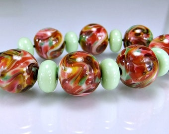 Glass Lampwork Bead Set Cranberry Pink Green SRA Lampwork
