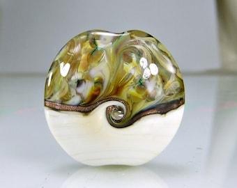 Ivory Tan Gold Lampwork Glass Lentil Focal Bead
