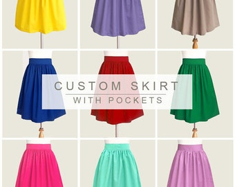 Custom cotton skirt with pockets - custom size, length and colors in black, blue, gray, navy, red, brown, maroon, plum, lavender and more