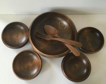 vintage mid century modern wood salad fruit bowl set Japan