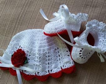 Preemie Baby Hat and Booties, Crochet Hat and Booties, Victorian Preemie Baby Girl or Reborn Doll Red Flower