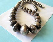 SALE...Navajo Sterling Silver Hand Stamped Graduated Bench Bead Necklace 19.5 Inches