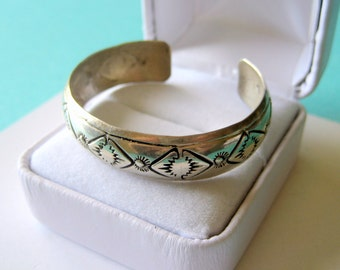 Navajo Sterling Silver Stamped Baby Cuff