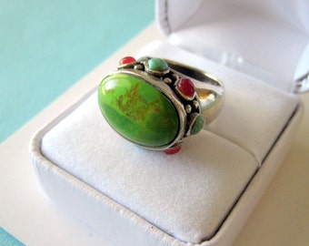 Chunky Green Turquoise and Multi Gemstone Sterling Silver Ring