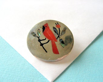 Zuni Inlay Red Bird Pin/Pendant, Sanford Edaakie and Sterling Chain