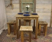 "Driftwood Dining Room Set (""36x36""x30 or 36""H TABLE) with (4) stools"