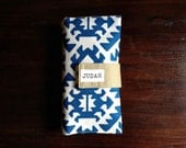 Diaper Clutch, Nappy Wallet, Blue and White Aztec Canvas,Personalized, Monogram, On-The-Go, Baby Shower Gift