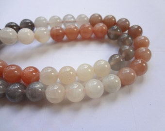 AAA 8mm Natural Round Multi Color Moonstone Gemstone Beads - 11pcs