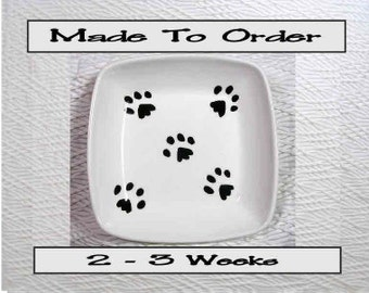 Paw Prints On A Square Clay Dish / Bowl Ceramic Handmade To Order by Grace M Smith
