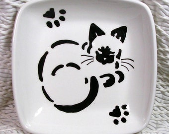 Siamese Stencil Cat Original Design Painted On Square Dish Handmade Ceramic by Grace M Smith