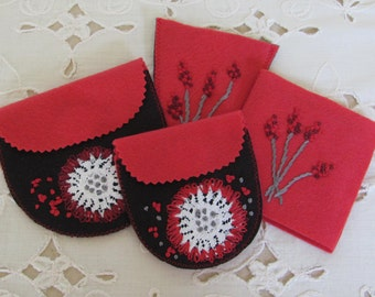 hand embroidered sewing organizers, sewing and craft organizers, wool felt pouches, scissors keeper, needle keeper