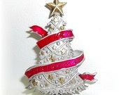Merry Christmas Tree JJ pin Jonette brooch vintage jewelry pewter Xmas