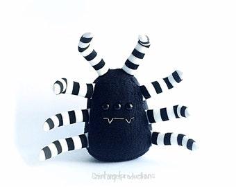 Black Spider Plushie, Plush Halloween Kawaii Arachnid with Black, White and Silver Striped Legs, READY to SHIP