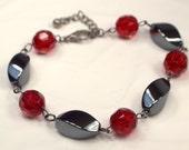 Ruby Red Crystal Bracelet, Sleek Hematite Link Bracelet, Crystal Bracelet, Black Bracelet, Red And Black Bracelet Link Bracelet (B180)