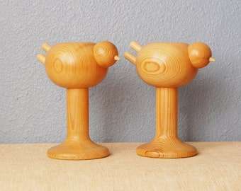 Vintage Bird Aarikka Wooden Candle Holders from Finland 1970s Figural Mod