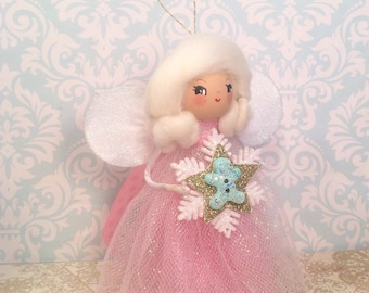 Christmas pixie christmas ornament vintage retro inspired pink christmas fairy gingerbread pastel toni kelly original
