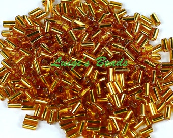 Silver-Lined Topaz #22C-TOHO Bugle Glass Seed Beads 3mm Sz 1