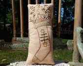 Primitive, Hand Stitched, Christmas Stocking, Pillow, Tuck, CIJ, Christmas In July