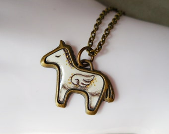 White horse angel necklace, horse jewelry, wing winged horse, antique brass pony, bronze, vintage style charm pendant gift for girl women