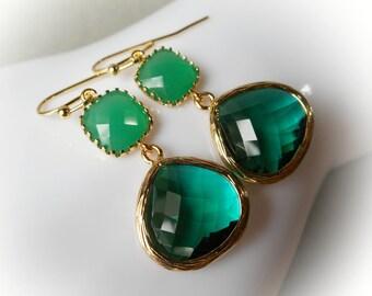Emerald gold earrings, emerald green dangle earrings, gold plated drop earrings glass earrings bridal earrings gift idea for her women girl