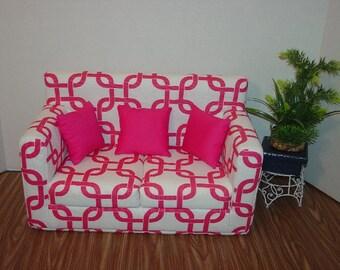 18 Inch Candy Pink, White - Sofa - Modern Handmade Doll Furniture