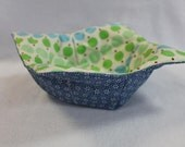 Reversible Quilted Microwave Bowl Cozy Pot Holder Bowl Holder Dots Blue Flowers