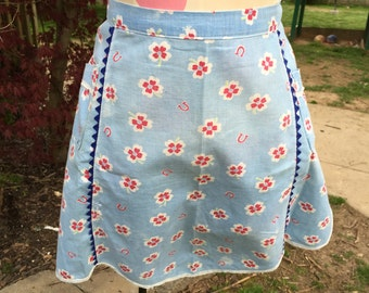 Vintage Well Loved Blue with Red Flowers and Blue Rick Rack Trim Half Apron