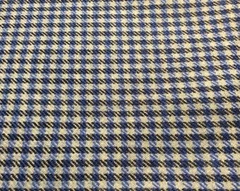 3 Yards of Vintage Blue, Black and White Check Knit Fabric