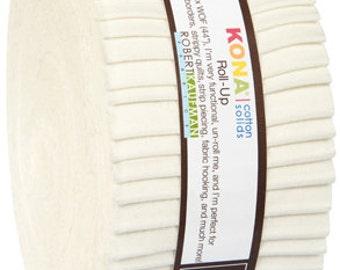 SALE Snow - Kona Roll Up Strips Precut Cotton Fabric Robert Kaufman   RU-189-40