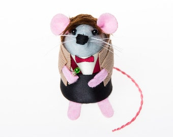 Matt Smith Mouse - collectable Doctor Who art rat artists mice cute soft sculpture toy stuffed plush doll gift for Dr Who fan collector
