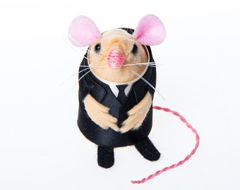 The Silence Doctor Who Monster mouse ornament artisan felt rat hamster mice cute gift doctor who fan or Dr Who collector