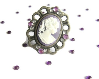 Purple Cameo Ring, Victorian Vintage Style, Adjustable
