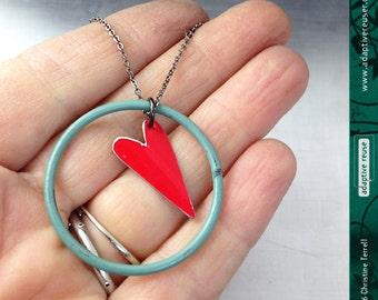 Heart Ring--Upcycled Tin and Found Object Necklace