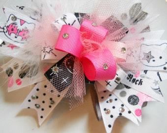 Hello Kitty Rock Star Ribbon Hair Bow, Girls Hair Bow