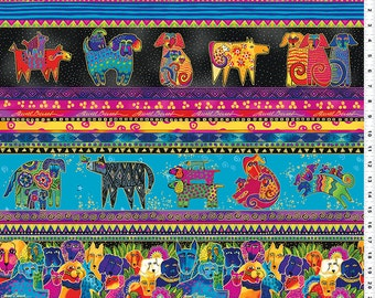 Laurel Burch Fabric Dog & Doggies Dog Border Stripe Y1796-56M
