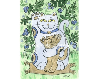 The Blueberry Neko & His Golden Kitten Enjoy a Summer Afternoon - Choose from ACEO Print, Note Cards, or Art Print
