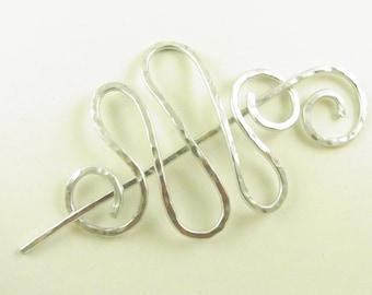 Silver Minimalist Hair Slide/Pin/Fork/Barrett/Clip Squiggle
