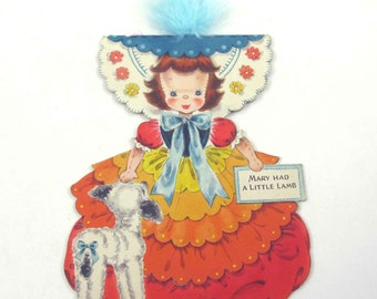 Vintage Unused 1940s Greeting Card with Mary Had a Little Lamb Land of Make Believe Doll Card by Hallmark Doll No. 4