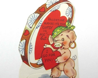 Vintage Children's Novelty Valentine Greeting Card with Gypsy Pig and Tambourine
