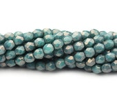 20% Shop Closing Czech Glass Beads Fire Polished Faceted Rounds 3mm Moondust Turquoise (50) CZF827