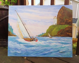 Sailboat Landscape Painting Ocean Painting Pacific Northwest Landscape Coastal Painting Man Cave Decor Nautical Painting Gift for Sailor