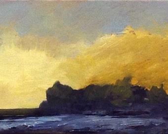 MINI 1645, 0il painting original landscape, miniature art, 100% charity donation, oil painting on cardboard